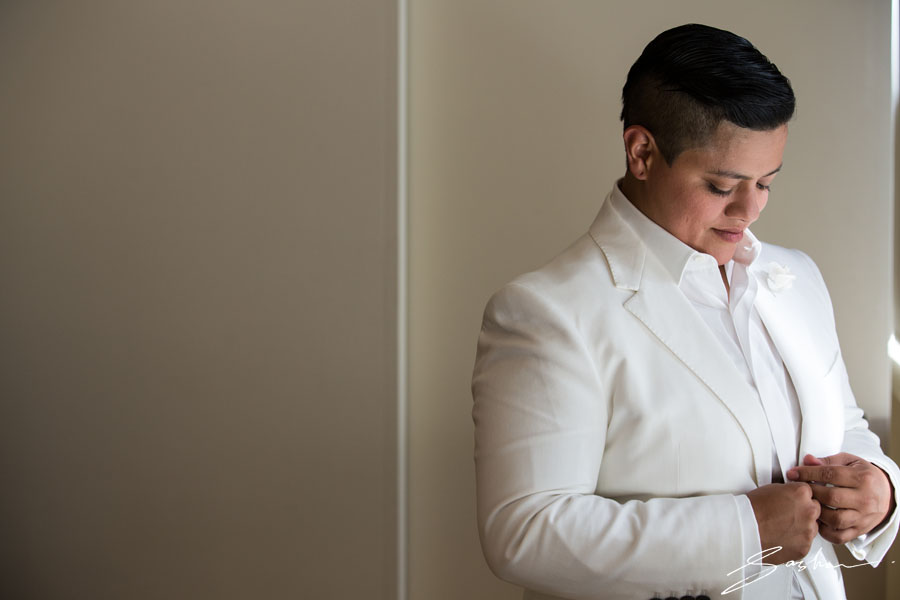 bride white suit